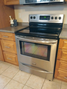 Fridgeaire stainless steel stove 2 years old great condition mov