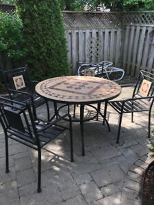 PATIO TABLE (STONE TOP) AND CHAIRS VERY HEAVY BEST OFFER