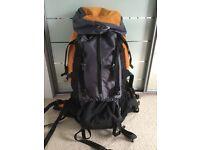 65l grey, black and orange rucksack