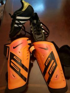 Soccer shoes shin pads