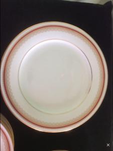 Noritake Doral Maroon Dish Set 8 place settings. elegant