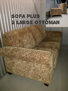 Gentlely used Sofa and 2 Large Ottomans