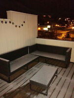 Patio couch / sectional and ottoman