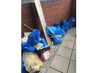 Free bags of soil /stone mix scaffold board patio off cuts wheelbarrow