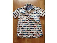 Boys White shirt with car pattern
