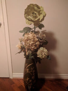 Tall Flower Arrangement (Fabric) in Green and Gold Ceramic Vase