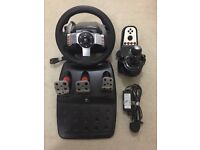 Logitech g27 steering wheel (with gear stick and pedals)
