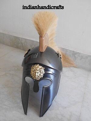 GREEK KING SPARTAN CORINTHIAN  BLACK  ANTIQUE FINISH HELMET W/DRIGON