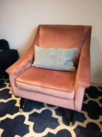 Rose pink velvet texture armchair chair