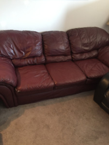 Leather couch, chair and stool