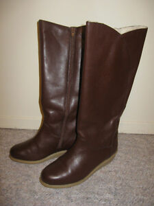 Long leather boots, size 7.5-8M
