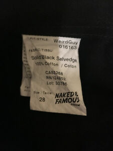 Selling Naked and Famous Selvedge (Solid Black Selvedge)