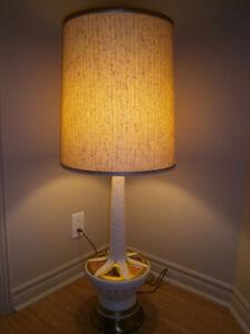 Lampe de table céramique et teck mid century