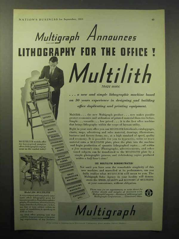 1933 Multigraph Multilith Lithography Machine Ad