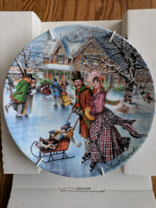 """SKATING ON THE POND"" plate"