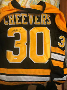 "Gerry Cheevers Signed Bruins Jersey Inscribed ""HOF 85"" COA"
