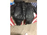 Full motor bike leather jacket and trousers