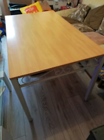 DINING TABLE 137CM X 80CM WOOD TOP AND METAL LEGS GOOD CONDITION