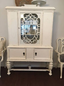 China Cabinet * Adams Furniture Co* Solid Walnut*Shabby Chic*
