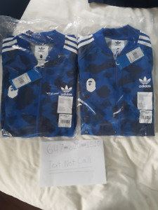 BAPE X ADIDAS TRACK TOP BLUE MEDIUM