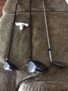 Taylormade driver, 3 wood, and a 60 deg wedge