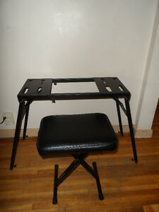 Heavy-Duty Piano Keyboard Table Stand And X-Style Piano Bench