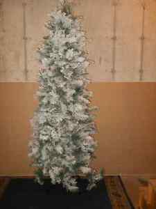 7 ft slim snow covered Christmas tree with clear lights - Truro