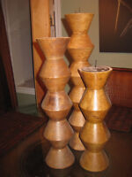 SET OF 3 - HEAVY - SOLID WOOD - MATCHING CANDLESTICKS