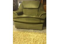Genuine 1970s green armchair