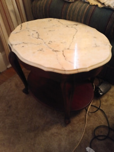 Marble living room table set.