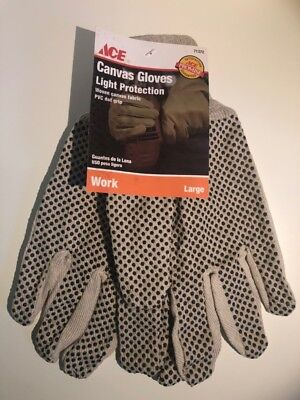 - 12 Pairs ~ ACE 71372 Canvas Work Gloves Black PVC Dot Gripper Natural ~ Large
