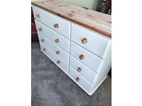 Refurbished Large Solid Pine Chest of Drawers/Sideboard (Free Deliver)