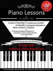 Piano lessons by experienced teacher in Mississauga ($30/lesson)