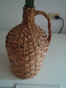 Vintage Glass Wine Jug in Wicker Holder