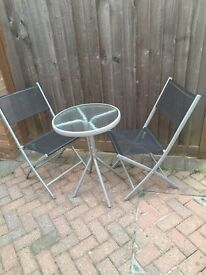 GARDEN SMALL METAL AND GLASS BISTRO SET
