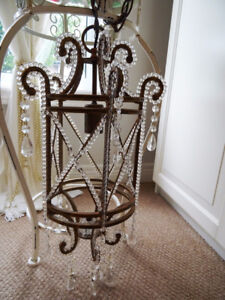 antique GLASS BEADED CAGE CHANDELIER with CRYSTAL LUSTRES PRISMS