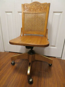 NEW PRICE $115 --- Old solid Oak Swivel Caneback Desk Chair