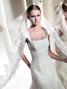 Beautiful Lace Wedding Dress and Cathedral Veil