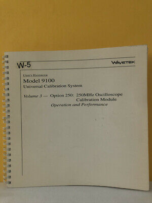 Wavetek 850306 The Model 9100 Universal Calibration System Users Handbook