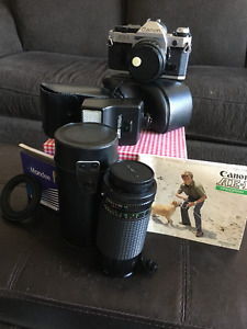 Vintage Canon AE-1 Film Camera, 188A Attachable Flash & 75-200mm