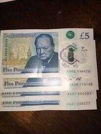 New £5 note! AA02 AA26 AA37 AA41