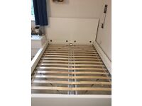 IKEA MALM high end Double bed in white complete with slats and two rolling under bed storage drawers