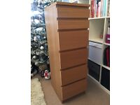 IKEA Malm Chest of 6 Drawers With Built-In Mirror