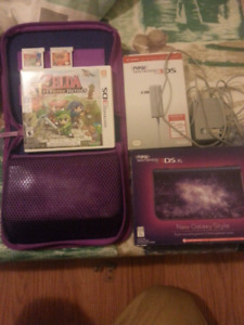New 3DS XL Galaxy + Games, Case, Charger