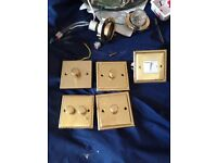 Brass light switches and double sockets