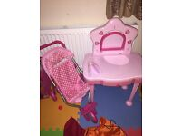 Dolls pram and dressing table