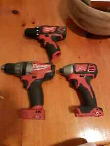 Milwaukee M18 Fuel drill, M18 Impact and M12 drill
