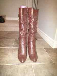 Dark brown leather stiletto boots, size 10, worn once, $40 ono St. John's Newfoundland image 5