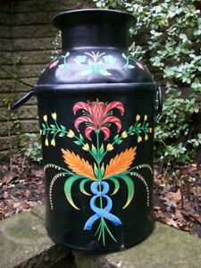 Painted, full size, antique milk can