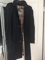 Burberry Black Mens 3/4 Length Trench Coat- Size 52